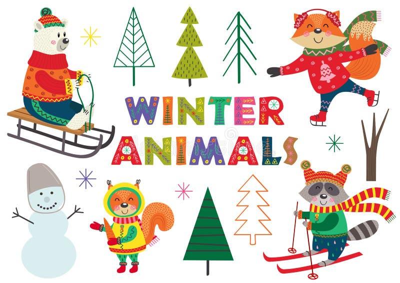 Set odosobniona zimy zabawa z zwierzęcia część 1 ilustracja wektor