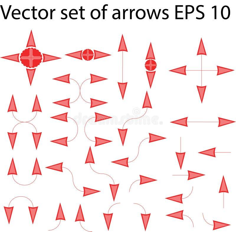 Set odosobnione czerwone i różowe strzała ilustracja wektor