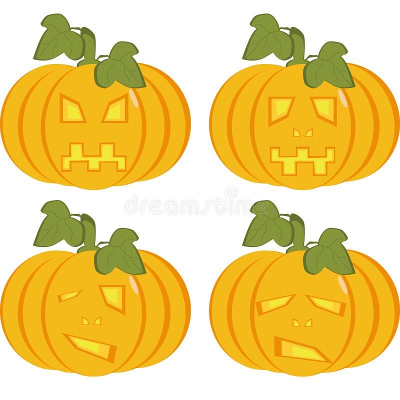 Set odosobnione ikony żółte banie z rzeźbić twarzami ilustracji