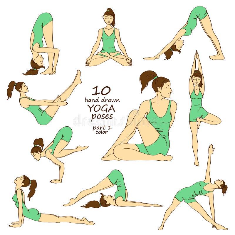 Set odosobnione joga pozy royalty ilustracja