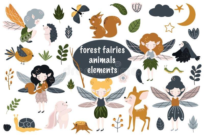 Set odosobnione lasowe czarodziejki - wektorowa ilustracja, eps ilustracji