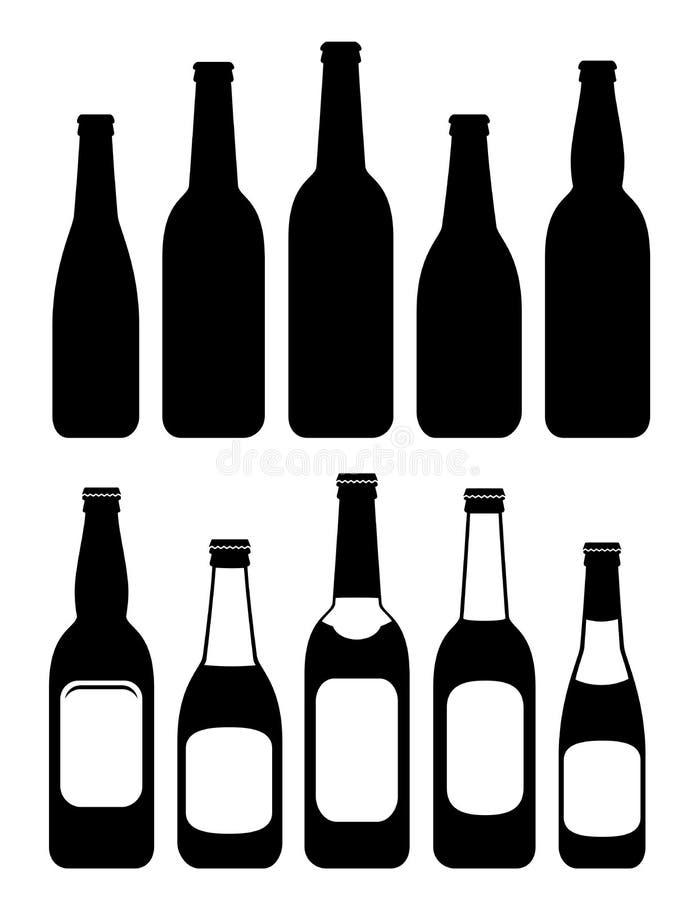 Set odosobnione piwne butelki ilustracja wektor