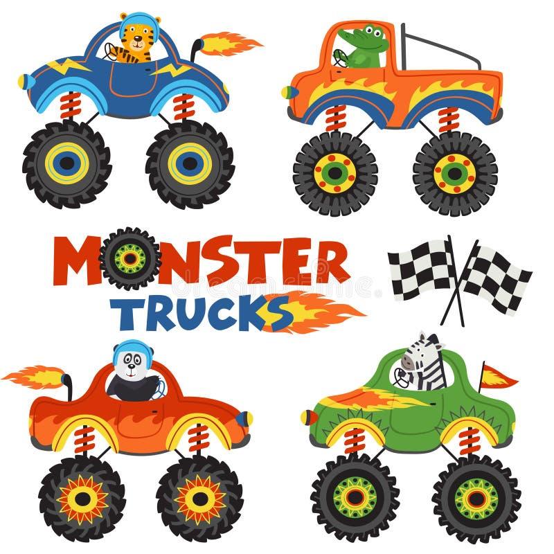 Set odosobnione potwór ciężarówki z zwierzęcia część 1 ilustracja wektor