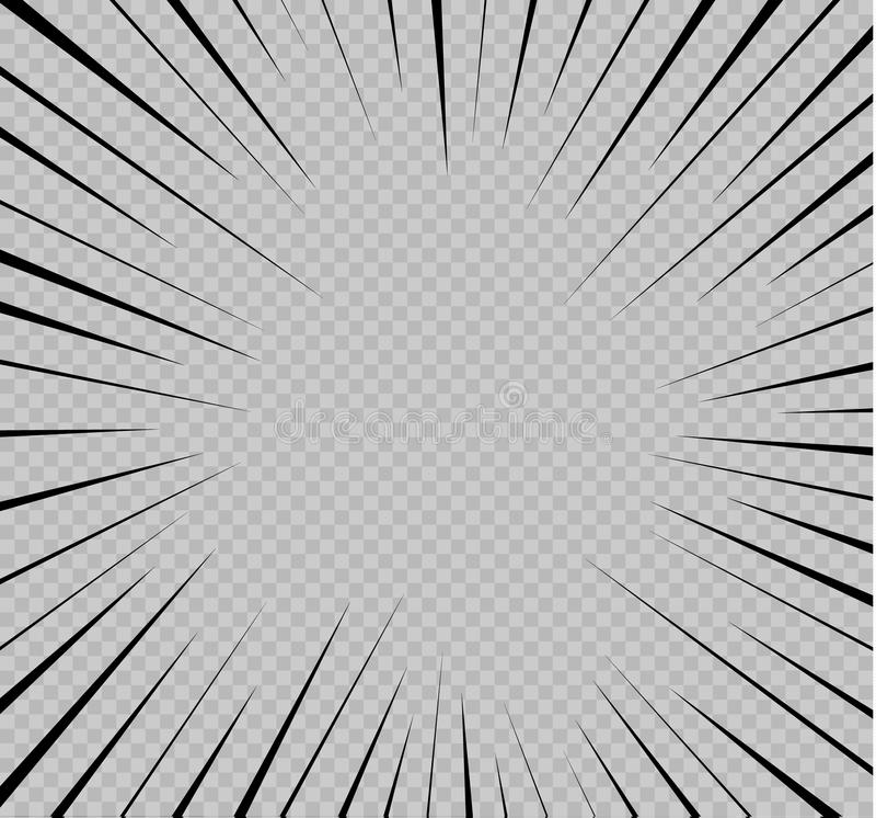 Set odosobnione prędkości linie Skutek ruch twój projekt Czerń wykłada na przejrzystym tle Latanie royalty ilustracja