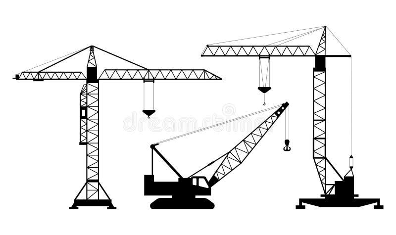Set odosobnione sylwetki podnosić żurawie na białym tle Kolekcja podnośni żurawie ilustracja wektor