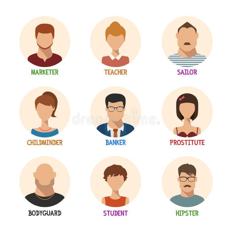 Set odosobnione twarze dla różnych zawodów ilustracji