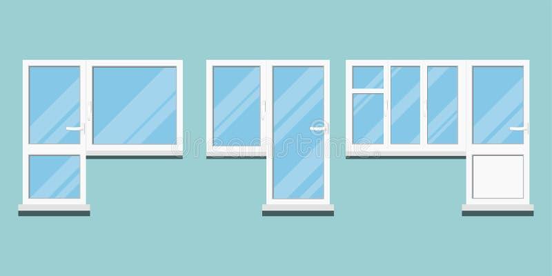 Set odosobnionego białego klingerytu pvc różny balkonowy drzwi i blok z izbowymi okno z rękojeścią, świecenie na szkle ilustracji