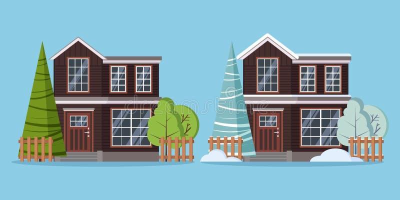 Set odosobnionego kraju kondygnacji lata i zimy wiejski dwa rolnego domu z ogrodzeniami ilustracji