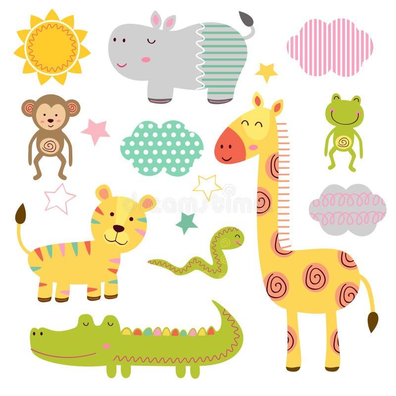 Set odosobniony dziecko dżungli zwierząt część 1 ilustracji