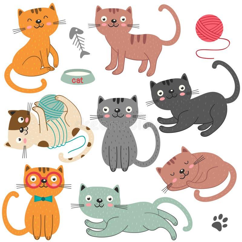Set odosobniony kota charakter ilustracja wektor