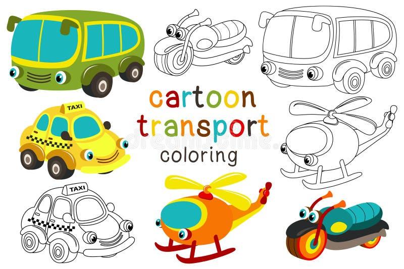 Set odosobniony kreskówka transport z oko częścią 3 ilustracja wektor