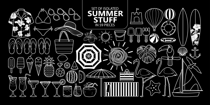Set odosobniony lato materiał w 59 kawałkach ilustracja wektor