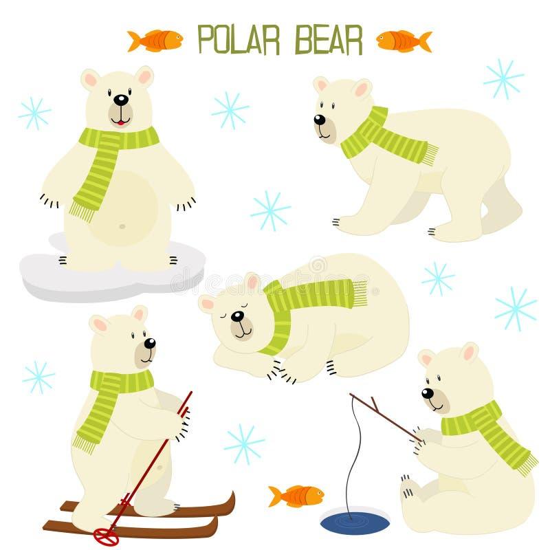 Set odosobniony niedźwiedź polarny ilustracji