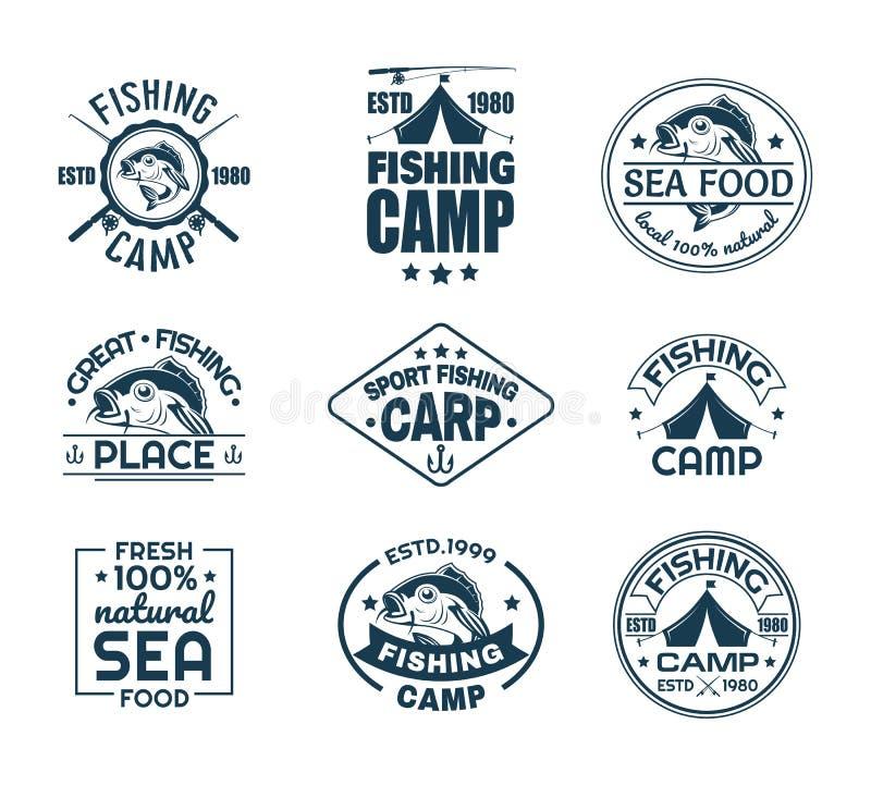 Set odosobniony połowu sporta logo z rybą ilustracja wektor
