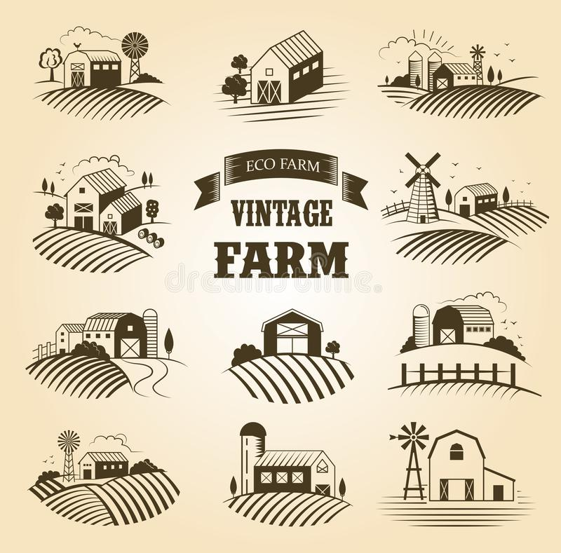 Set odosobniony rocznika eco uprawia ziemię, krajobrazy, etykietki dla naturalnych produktów rolniczych Rolna Domowa pojęcie kole ilustracja wektor