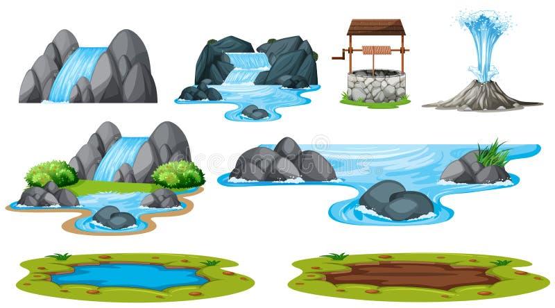 Set odosobniony wodny element ilustracji