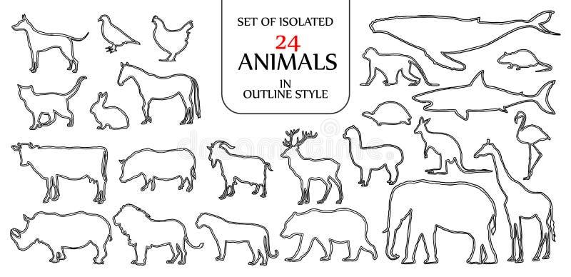 Set odosobniony 24 zwierzęcia ilustracyjnego w dwoistym czarnym konturze ilustracja wektor