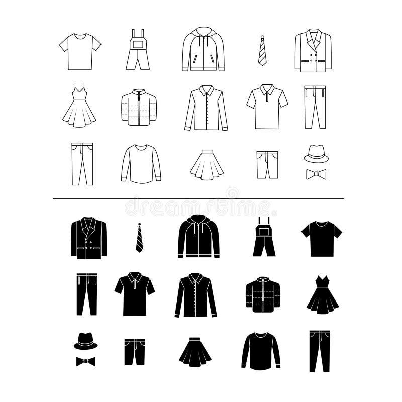 Set odzieżowe wektorowe ikony ilustracji