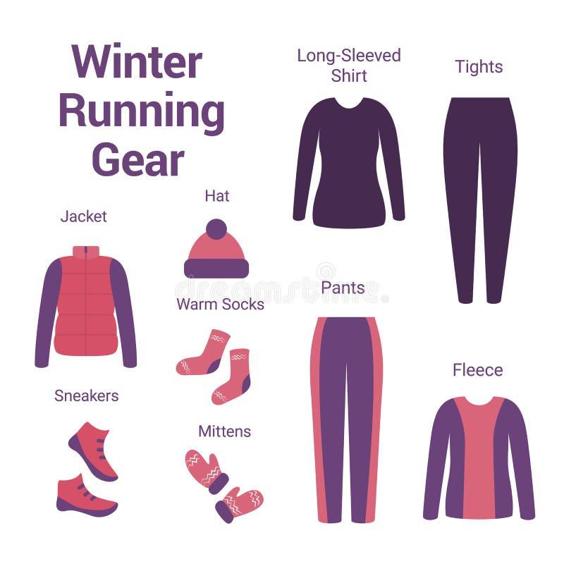 Set odziewa dla zima bieg ilustracji