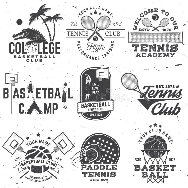 Set odznaka, emblemat lub znak koszyk?wki i tenisa, wektor Poj?cie dla koszula, druku lub tr?jnika, Rocznik typografii projekt royalty ilustracja