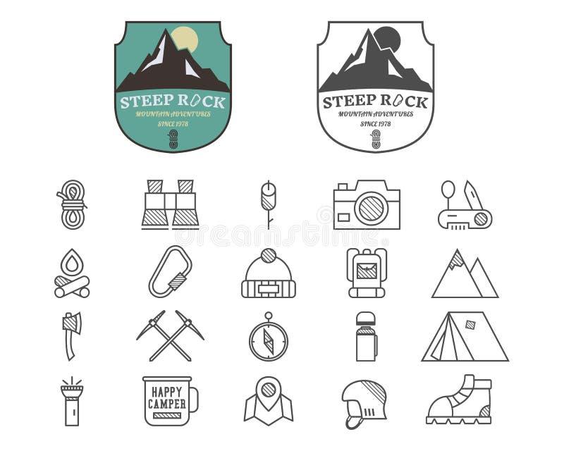 Set odznaka, logo i etykietka lato góry obozu, royalty ilustracja