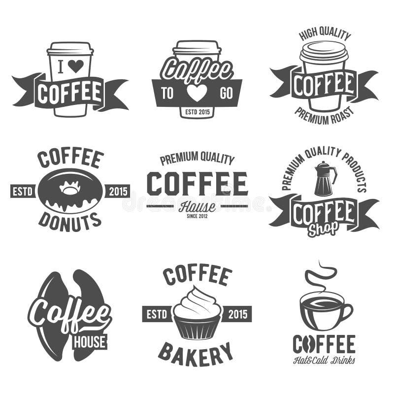 Set odznaki i etykietka elementy dla kawy royalty ilustracja