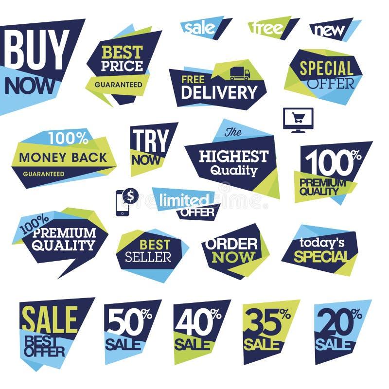 Set odznaki i etykietki dla sprzedaży ilustracja wektor