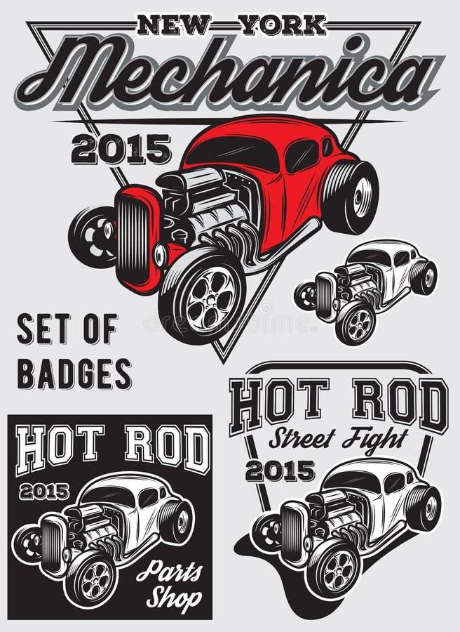 Set odznaki z Gorącym Rod royalty ilustracja