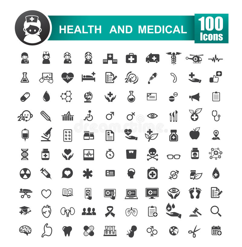 Free Set Of 100 Icon Of Health And Medical Vector Illustration 001 Royalty Free Stock Photo - 75864325