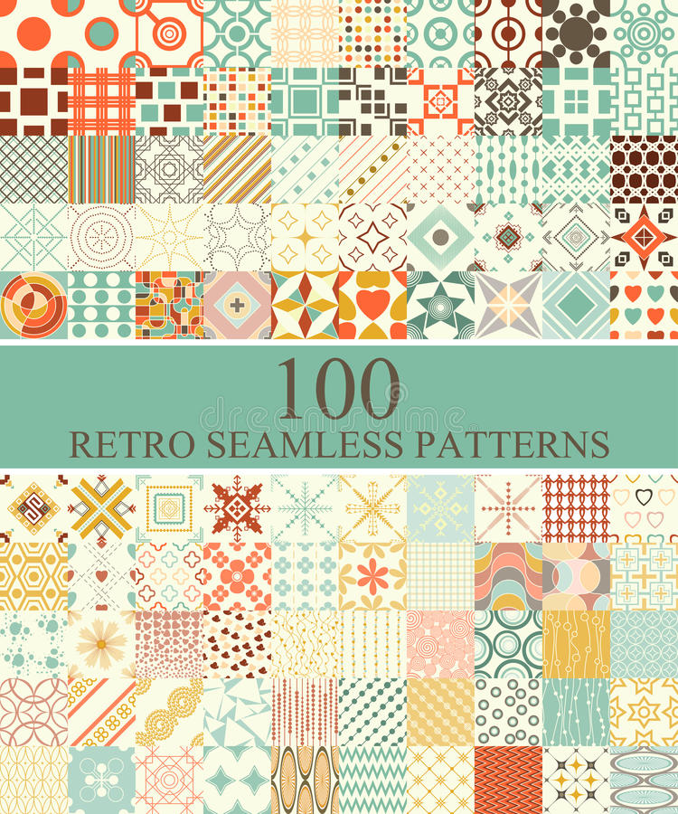 Free Set Of 100 Seamless Retro Stock Image - 41663671