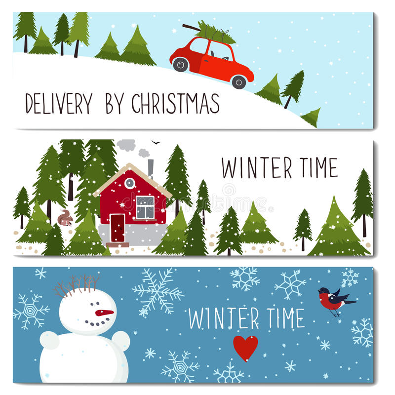 Free Set Of 3 Lovely Winter Cards Templates. Stock Photos - 79249363