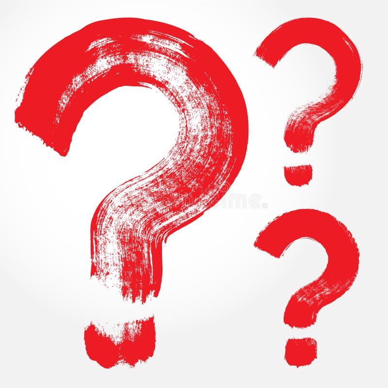 Free Set Of 3 Original Hand-painted Question Symbol Stock Photos - 66045433