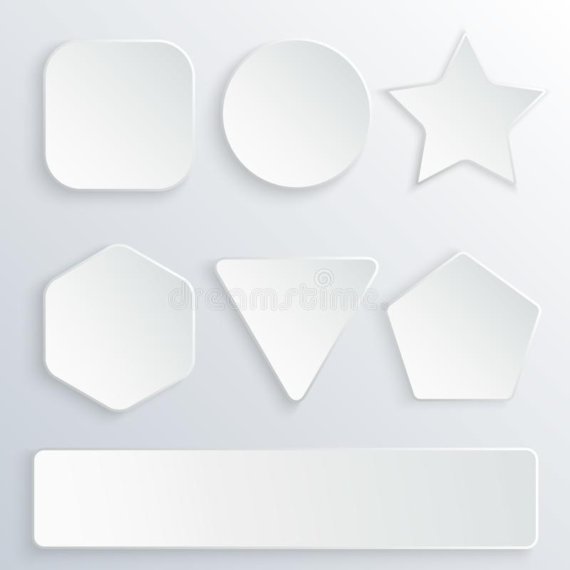Free Set Of 3d Paper Buttons In Various Shapes. White Buttons On Gray Background. Round, Square, Star, Hexagon, Rectangle Stock Photo - 114010950
