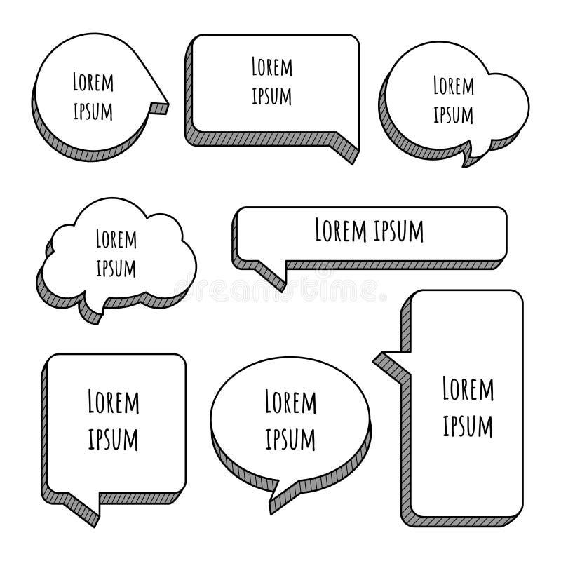 Free Set Of 3D Speech Bubble Balloon Think, Speak, Talk, Template, Art Royalty Free Stock Image - 158645756