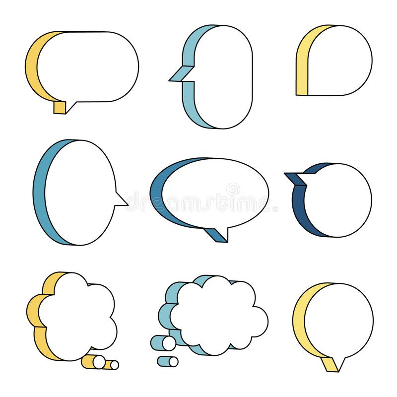 Free Set Of 3D Speech Bubble Balloon Think, Speak, Talk, Template, Text Box Banner, Yellow And Blue Color Royalty Free Stock Image - 162471796