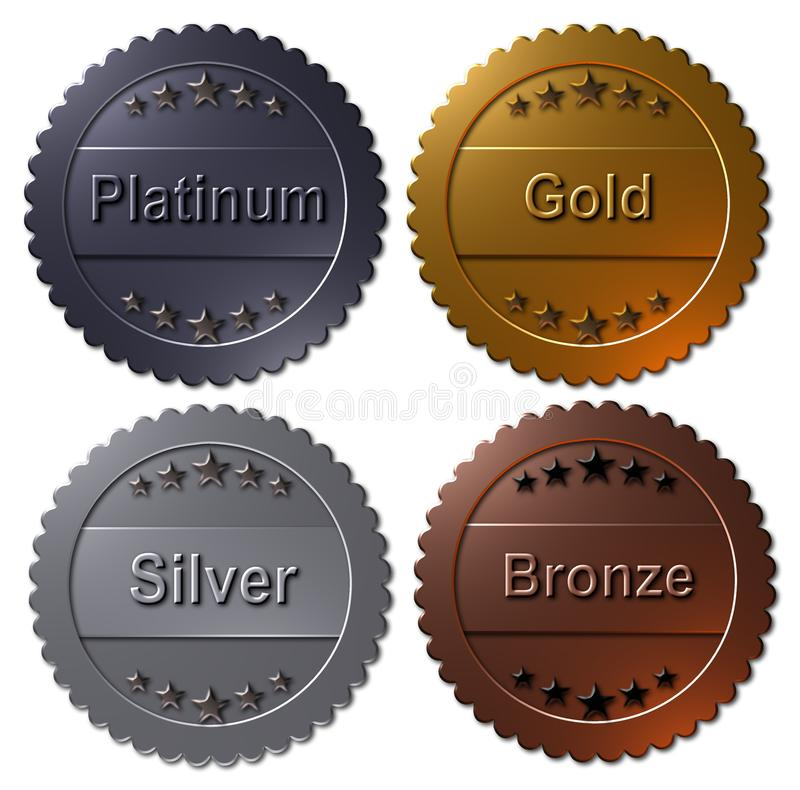 Free Set Of 4 Medals Paltinum, Gold, Silver, Bronze Stock Photos - 107059303