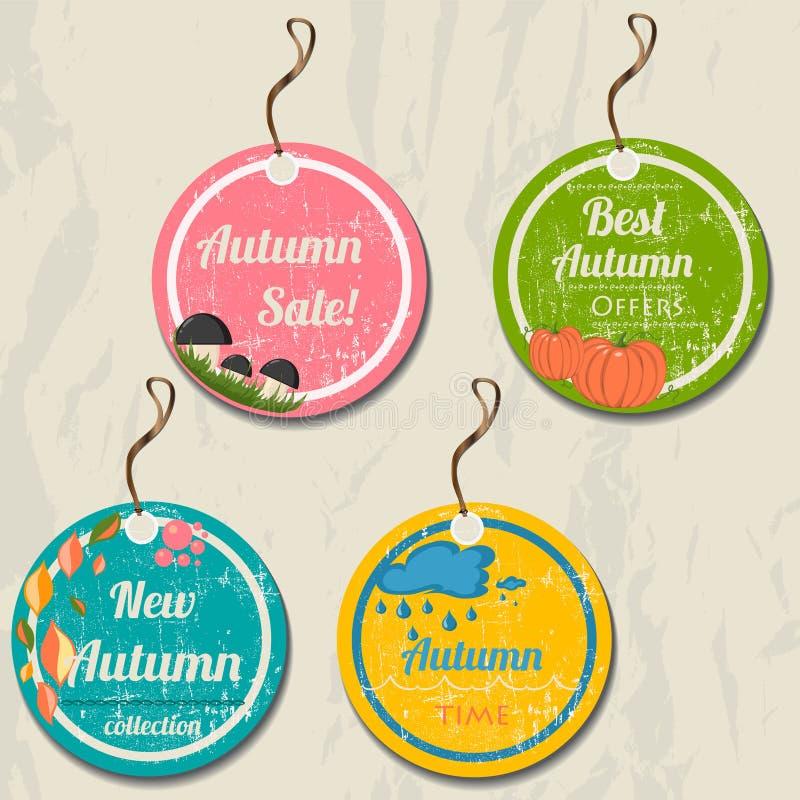 Free Set Of 4 Retro Autumn Tags. Royalty Free Stock Photography - 32604717