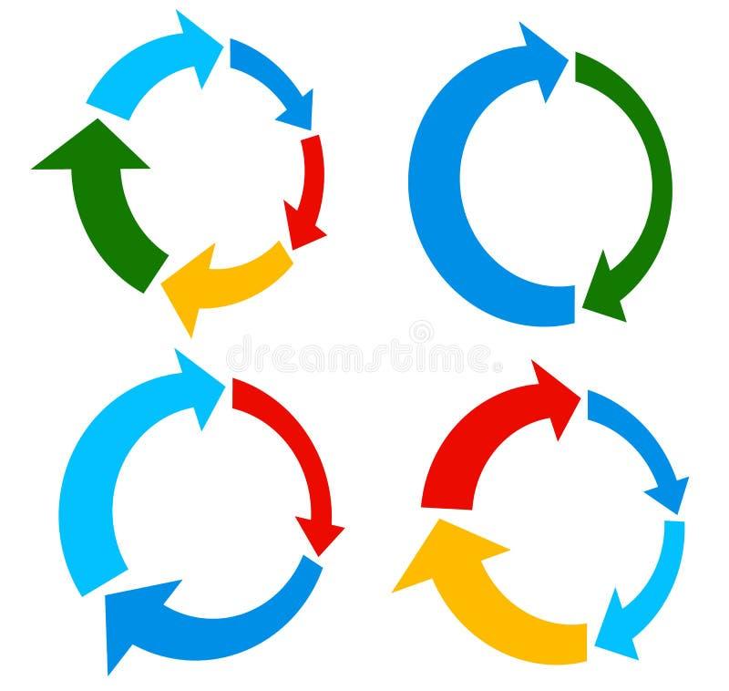 Free Set Of 4 Version Circular Arrow, Circle Arrow Elements Stock Image - 83651551