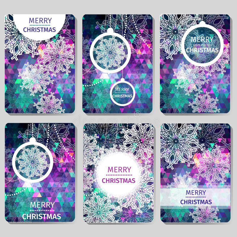 Free Set Of 6 Colorful Merry Christmas And Happy New Year Polygonal Background With Snowflakes, Stock Photo - 62143180