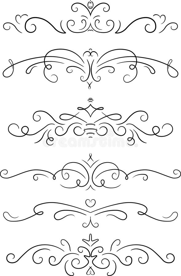 Free Set Of 6 Decorative Swirls Elements, Dividers, Page Decors. Stock Photo - 81482220