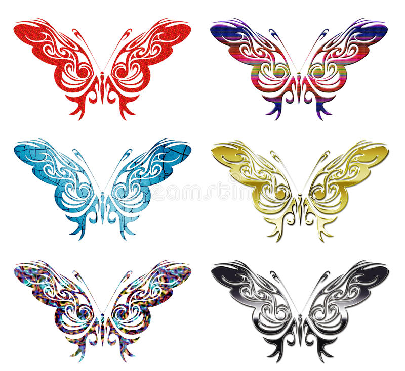 Free Set Of 6 Patterned Butterflies Vector Stock Photo - 13771140