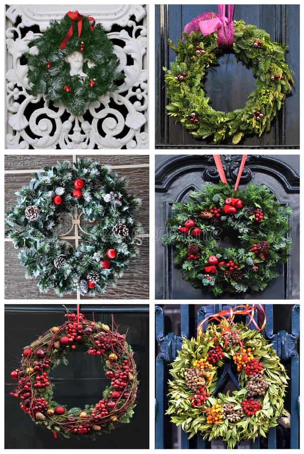 Free Set Of 6 Pictures Christmas Decoration Wreath Stock Photography - 26675172