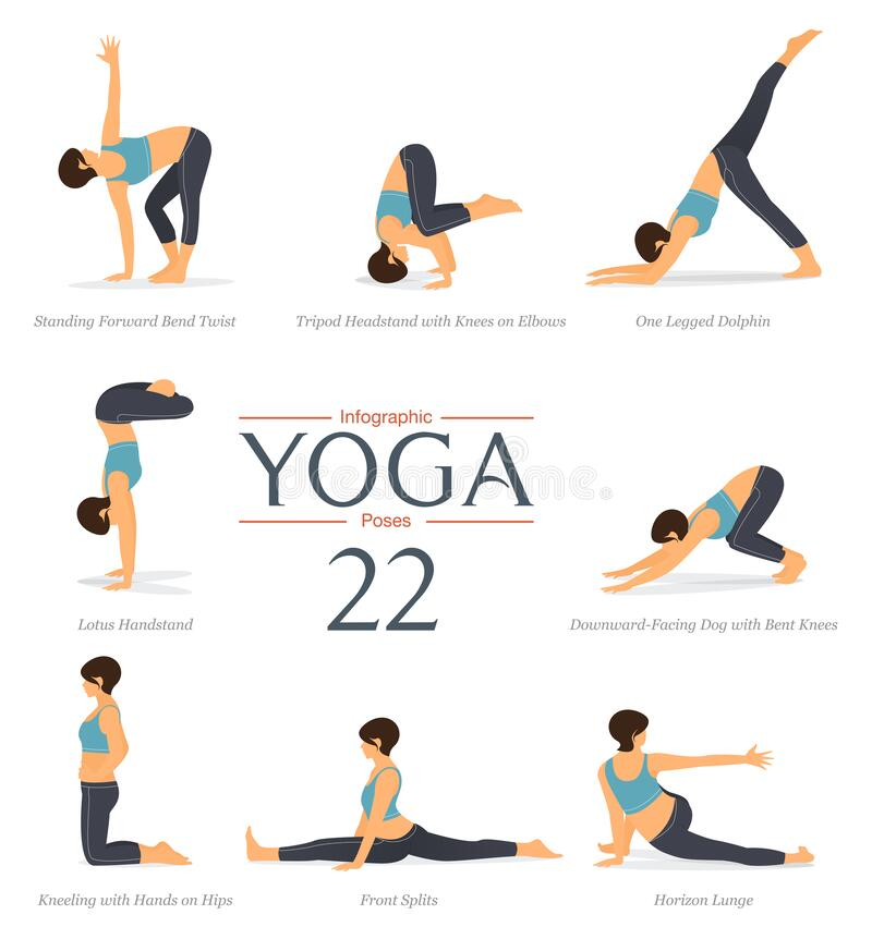 Free Set Of 8 Yoga Poses In Flat Design. Beauty Woman In Blue Sportswear And Black Yoga Pants Is Doing Exercise For Body Stretching. Royalty Free Stock Image - 172419876