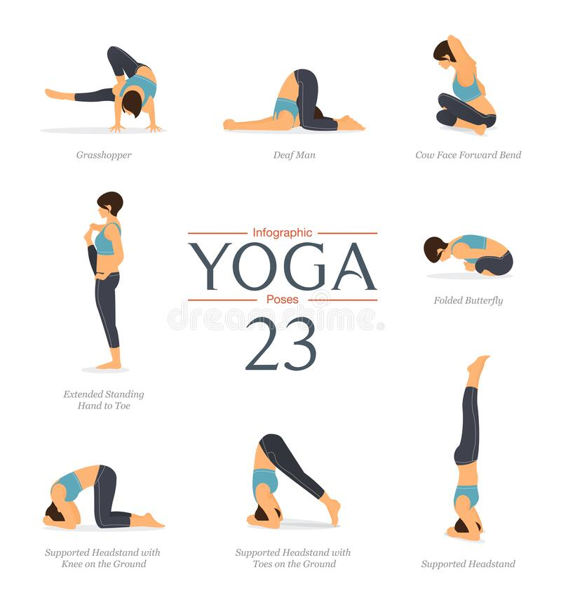 Free Set Of 8 Yoga Poses In Flat Design. Beauty Woman In Blue Sportswear And Black Yoga Pants Is Doing Exercise For Body Stretching. Stock Image - 172419891