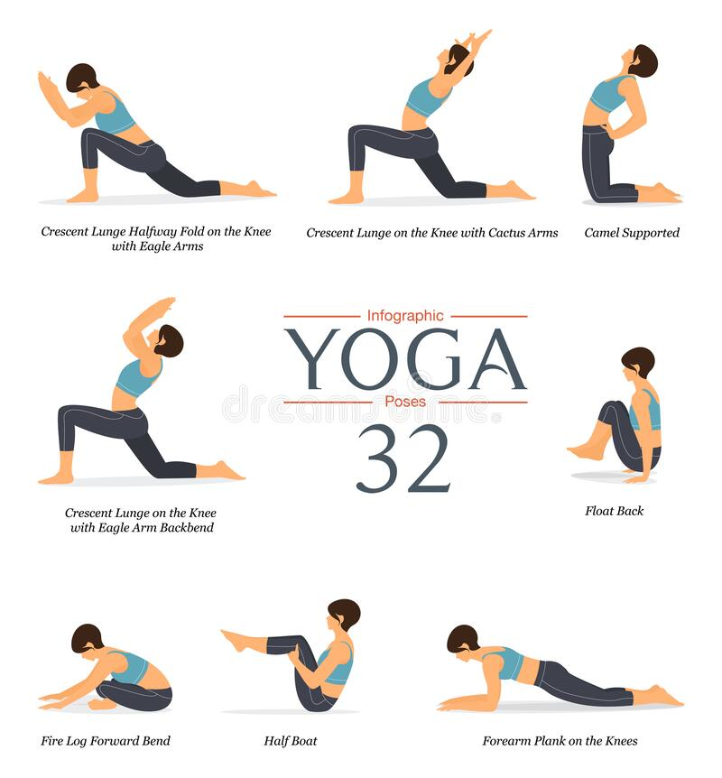 Free Set Of 8 Yoga Poses Or Asana Posture In Flat Design. Beauty Woman In Blue Sportswear And Black Yoga Pants Doing Exercise. Vector Stock Photography - 211809282