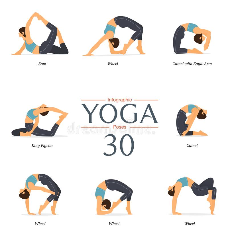 Free Set Of 8 Yoga Poses Or Asana Posture In Flat Design. Beauty Woman Is Doing Exercise For Body Stretching. Royalty Free Stock Images - 207294509