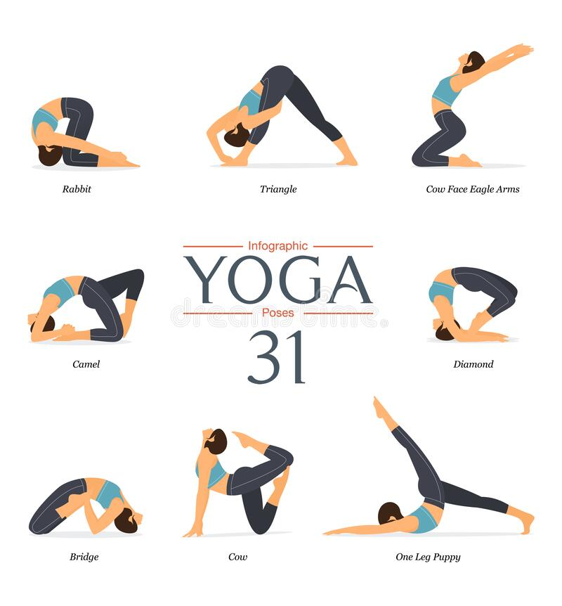 Free Set Of 8 Yoga Poses Or Asana Posture In Flat Design. Beauty Woman Is Doing Exercise For Body Stretching. Stock Photography - 207294512