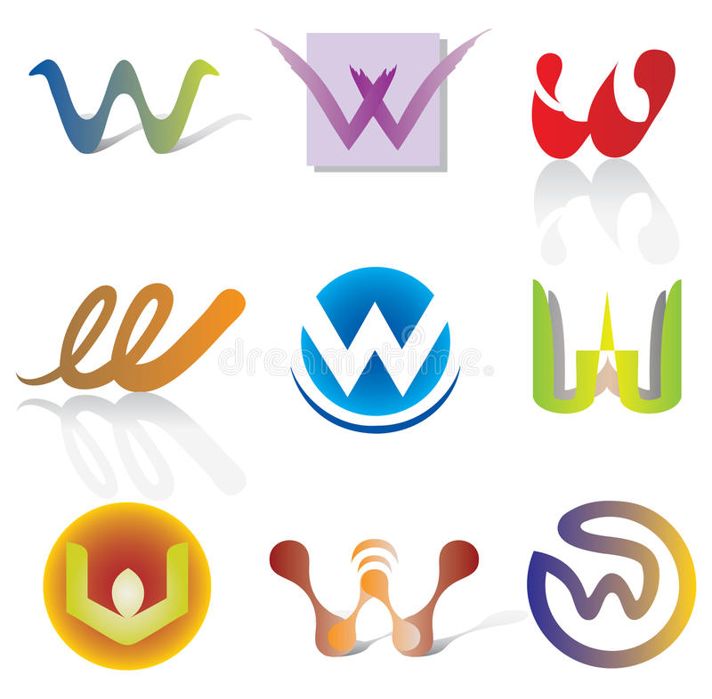 Free Set Of 9 Abstract W Letter Icons - Decorative Elements Stock Photography - 60370522