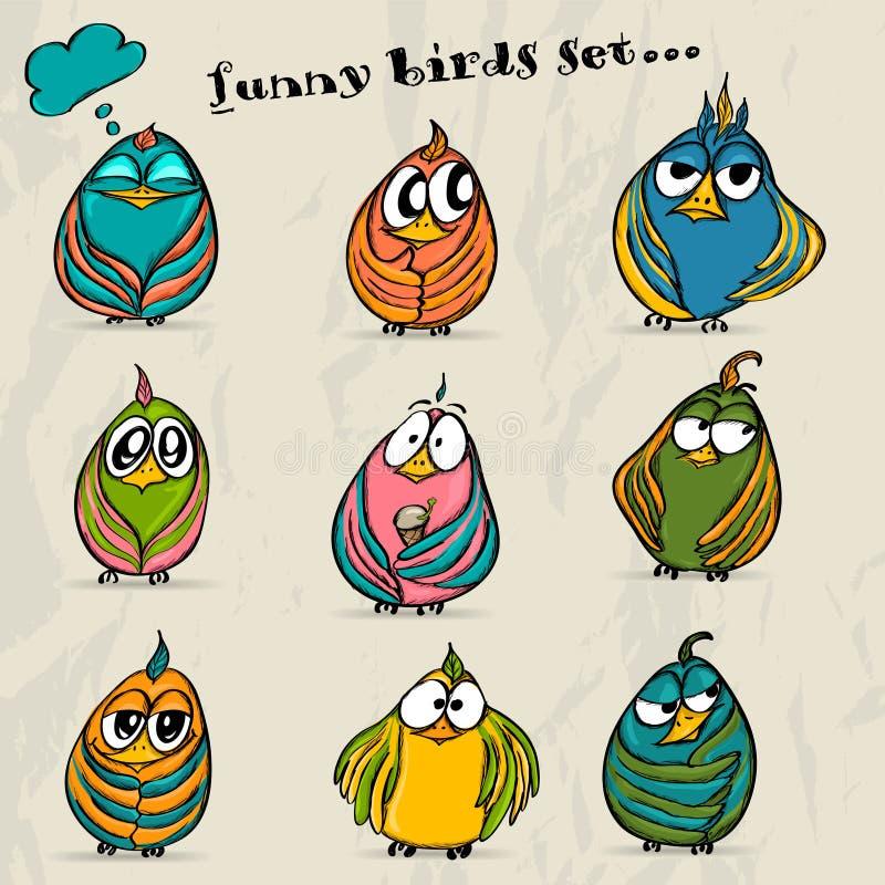 Free Set Of 9 Funny Cartoon Birds. Stock Images - 30822984