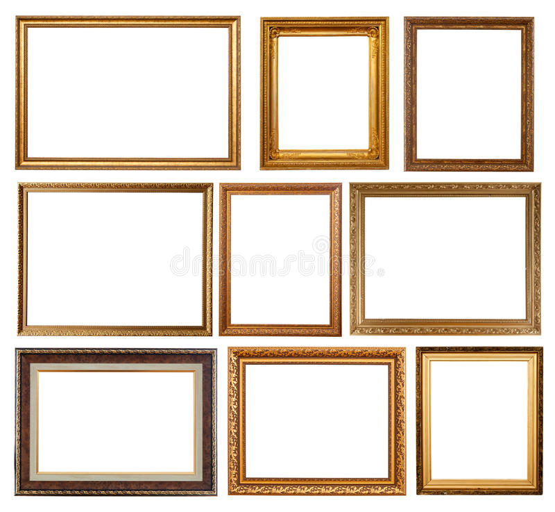 Free Set Of 9 Gold Frames Royalty Free Stock Photography - 18751427